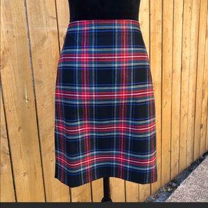 J. Crew black tartan plaid pencil skirt 4